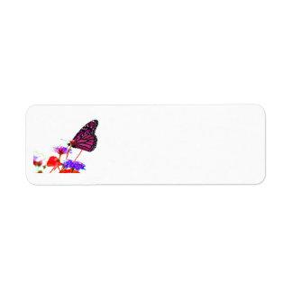 Pink Butterfly Return Address Label