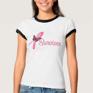 Pink Butterfly Ribbon - Breast Cancer Survivor T-shirt