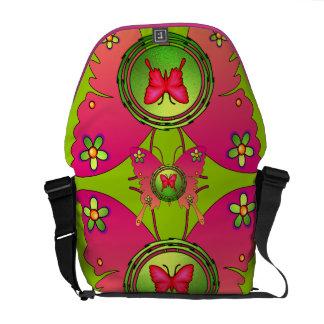 Pink Butterfly Rickshaw Messenger Bag