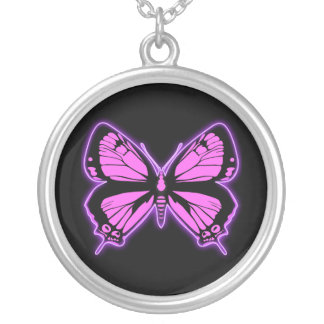 Pink Butterfly Round Pendant Necklace