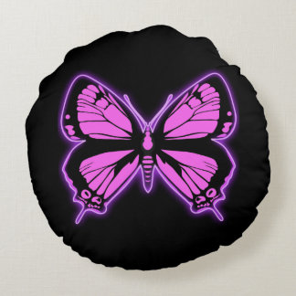 Pink Butterfly Round Pillow