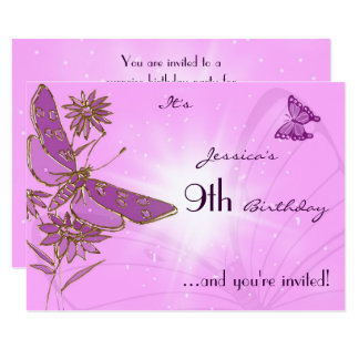 Pink Butterfly RSVP Invitation Card