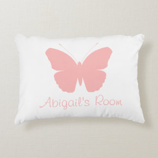 Pink Butterfly Silhouette Design (Personalised) Accent Pillow