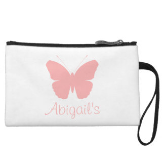 Pink Butterfly Silhouette Design (Personalised) Wristlets