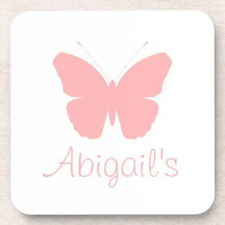 Pink Butterfly Silhouette Design (Personalised) Drink Coaster