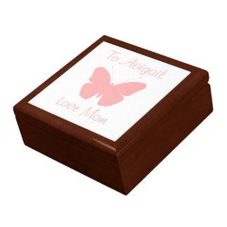 Pink Butterfly Silhouette Design (Personalised) Trinket Box