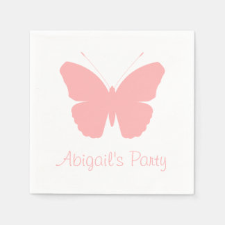 Pink Butterfly Silhouette Design (Personalised) Disposable Serviettes