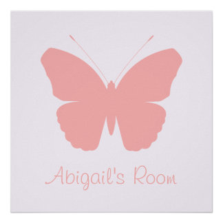 Pink Butterfly Silhouette Design (Personalised) Poster