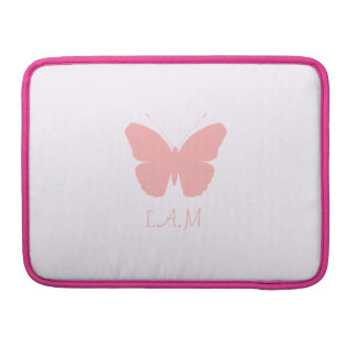 Pink Butterfly Silhouette Design (Personalised) Sleeve For MacBook Pro