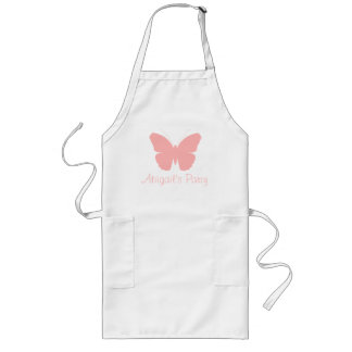 Pink Butterfly Silhouette Design (Personalized) Long Apron