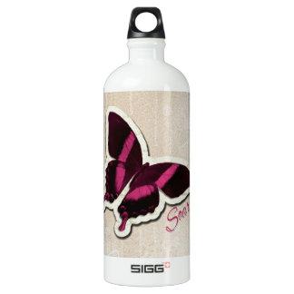 Pink Butterfly Soar on Beige Background Aluminum Water Bottle