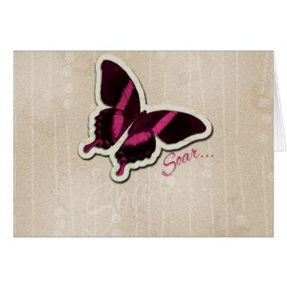 Pink Butterfly Soar on Beige Background Card