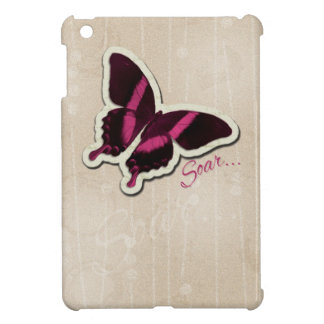 Pink Butterfly Soar on Beige Background Case For The iPad Mini