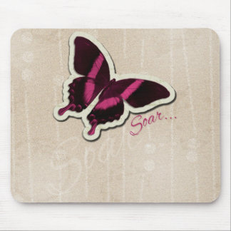 Pink Butterfly Soar on Beige Background Mouse Pad