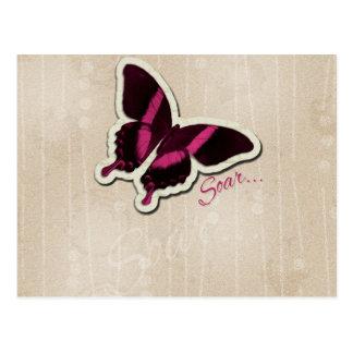 Pink Butterfly Soar on Beige Background Postcard