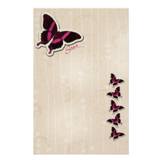 Pink Butterfly Soar on Beige Background Stationery