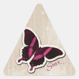 Pink Butterfly Soar on Beige Background Triangle Sticker