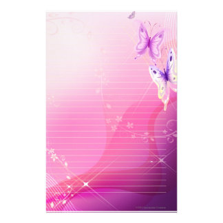 Pink Butterfly Stationary Stationery Design