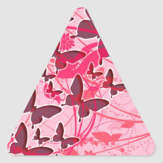 Pink Butterfly Triangle Sticker