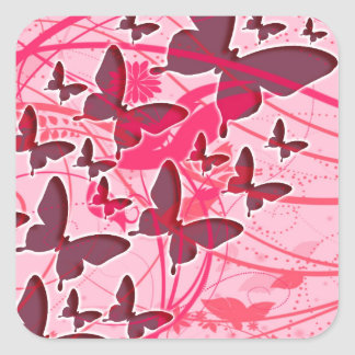 Pink Butterfly Square Sticker