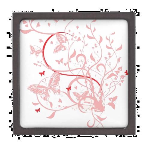 Pink Butterfly Swirls Premium Jewelry Box