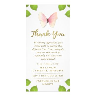 Pink Butterfly Thank You for Sympathy Card