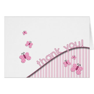 Pink Butterfly Thank You Note Card