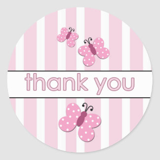 Pink Butterfly Thank You Stickers