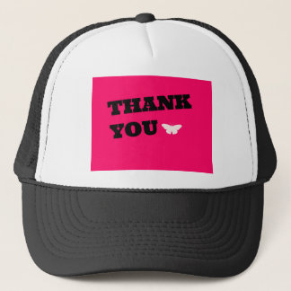 Pink Butterfly Thank You Trucker Hat
