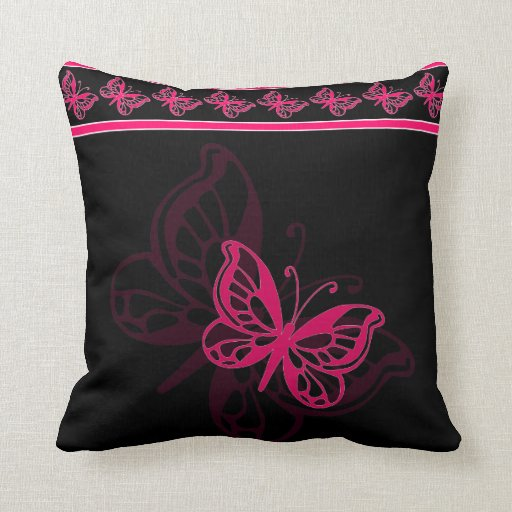 Pink butterfly throw pillow Zazzle