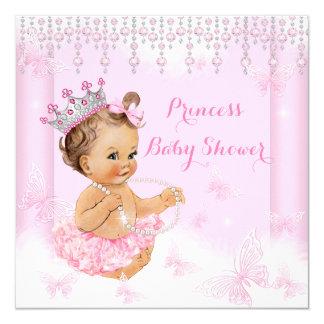 Pink Butterfly Tiara Princess Baby Shower Brunette Card