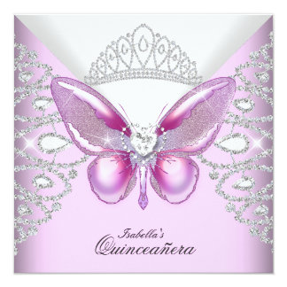 Pink Butterfly Tiara Quinceanera 15th Party Card