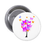 Pink Butterfly Tree Pinback Buttons