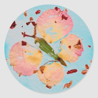 Pink Butterfly Turquoise Sky round sticker, sealer Classic Round Sticker