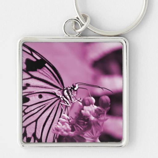 Pink Butterfly With Flowers Keychain