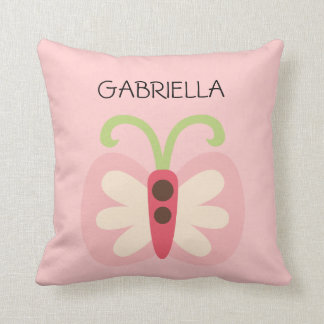 Pink Butterfly with Name Throw Pillow