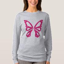 Pink Butterfly Women's Basic Long Sleeve T-Shirt