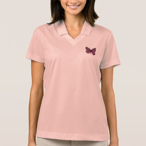 Pink Butterfly Women's Nike Dri-FIT Pique Polo Polo T-shirts