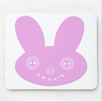 Pink Button Eyed Cute Happy Bunny Mouse Pad