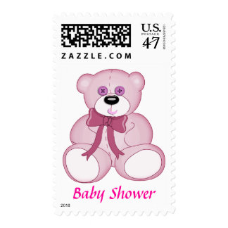 Pink Button Eyed Teddy Bear Baby Shower Invite Postage