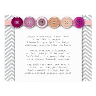 Pink Button Insert card Postcard