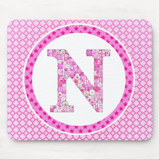 Pink Button Letter N Mouse Pad