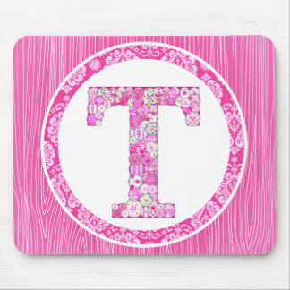 Pink Button Letter T Mouse Pad