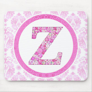 Pink Button Letter Z Mouse Pad