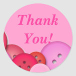 Pink Button Thank You Round Stickers