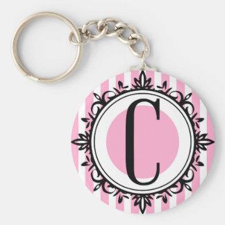 Pink 'C' monogram Basic Round Button Keychain