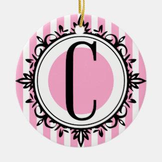 Pink 'C' monogram Ceramic Ornament