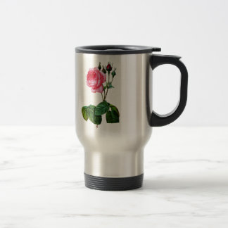Pink Cabbage Rose By Pierre Joseph Redoute Travel Mug