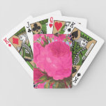 Pink Cabbage Roses Bicycle Poker Deck