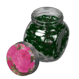 Pink Cabbage Roses Glass Candy Jar